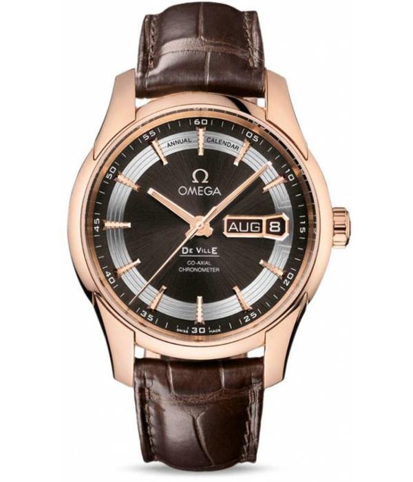 Omega Hour Vision Annual Calendar Herenhorloge Roségoud / Bruin / Crocoleder