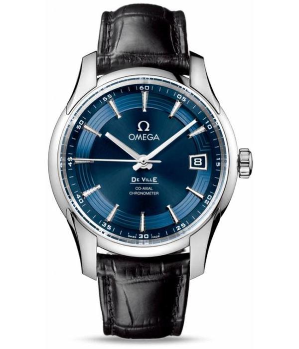 Omega Hour Vision Orbis Horloge Staal / Blauw / Crocoleder