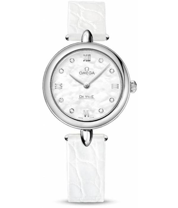 Omega Prestige Horloge Staal / Parelmoer / Crocoleder