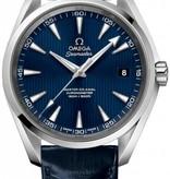 Omega Seamaster Aqua Terra 150m 41mm Horloge Staal / Blauw / Alligatorleder