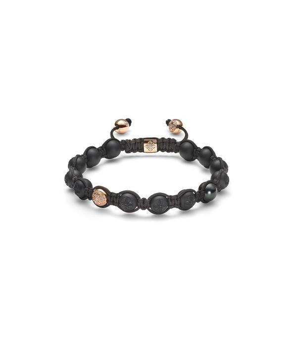 Shamballa Timeless Men 8mm Bracelet Tahiti parels with Rose Gold onyx