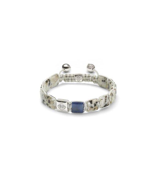 Shamballa Nordic Magic Men 10mm Lock Bracelet White Gold, Diamonds, Blue Sapphire, Granite, 18K White<br /> Gold