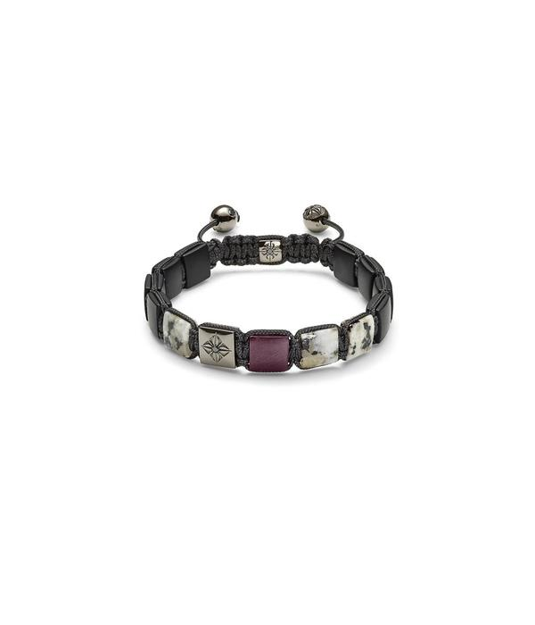 Shamballa Nordic Magic Men 10mm Lock Bracelet Black Diamonds, Ruby, Granite, Onyx, 18K Black Rhodium<br /> Plated White Gold
