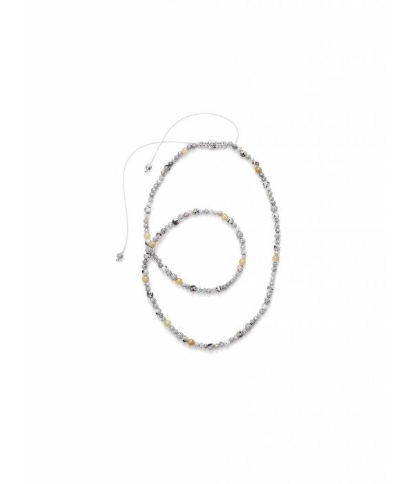 Shamballa Nordic Magic Women 6mm Shamballa Necklace Gray Diamonds, White Gold,<br /> Diamonds, Yellow Sapphires, Granite, 18K White Gold