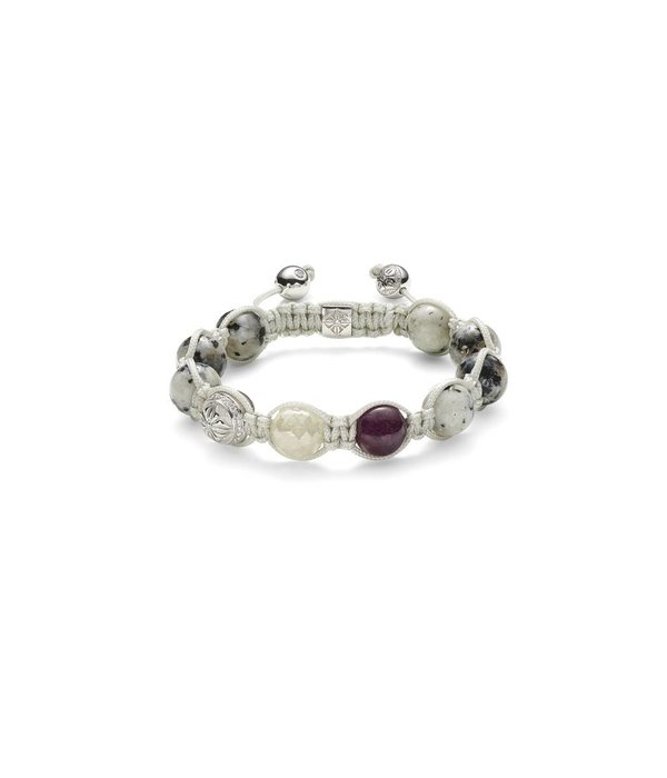 Shamballa Nordic Magic Women 10mm Shamballa Bracelet White Diamond, White Gold,<br /> Diamonds, Ruby, Granite, 18K White Gold