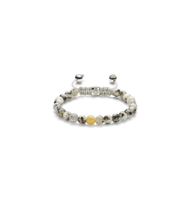Shamballa Nordic Magic Women 6mm Non-Braided Shamballa Bracelet White Gold, Diamonds, Yellow Sapphire, Granite, 18K<br /> White Gold