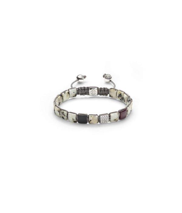 Shamballa Nordic Magic Women 6mm Lock Bracelet White Gold, Diamonds, Ruby, Granite, 18K White Gold