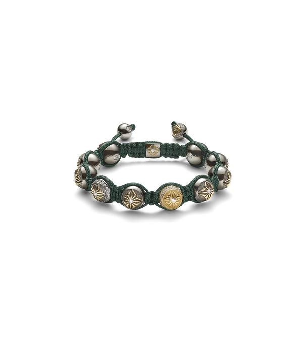 Shamballa Exploration Women 10mm Shamballa Bracelet White Gold, Diamonds, 18K Black Rhodium Plated Yellow Gold