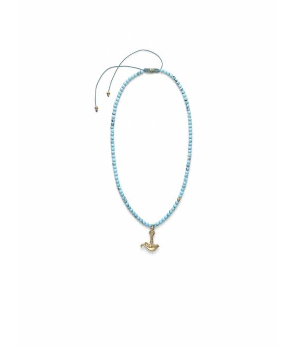 Shamballa Inner Radiance Men Kartika Dragon Necklace White Gold, Diamonds, Turquoise, 18K Yellow Gold