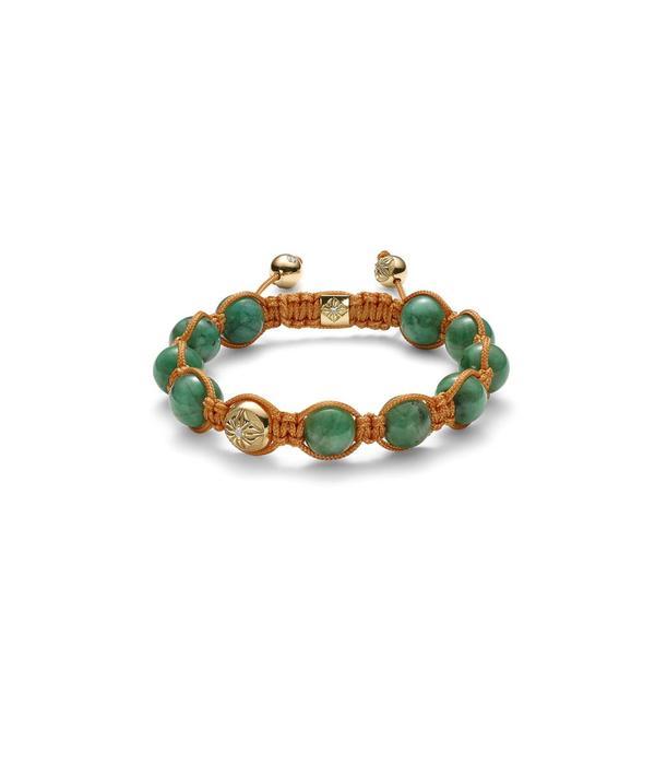 Shamballa Inner Radiance Men 10mm Shamballa Bracelet White Gold, Diamonds, Emeralds, 18K Yellow Gold