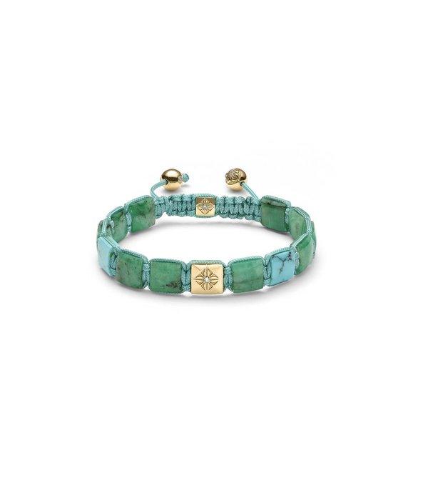 Shamballa Inner Radiance Men 10mm Lock Bracelet White Gold, Diamonds, Emeralds, Turquoise, 18K Yellow Gold