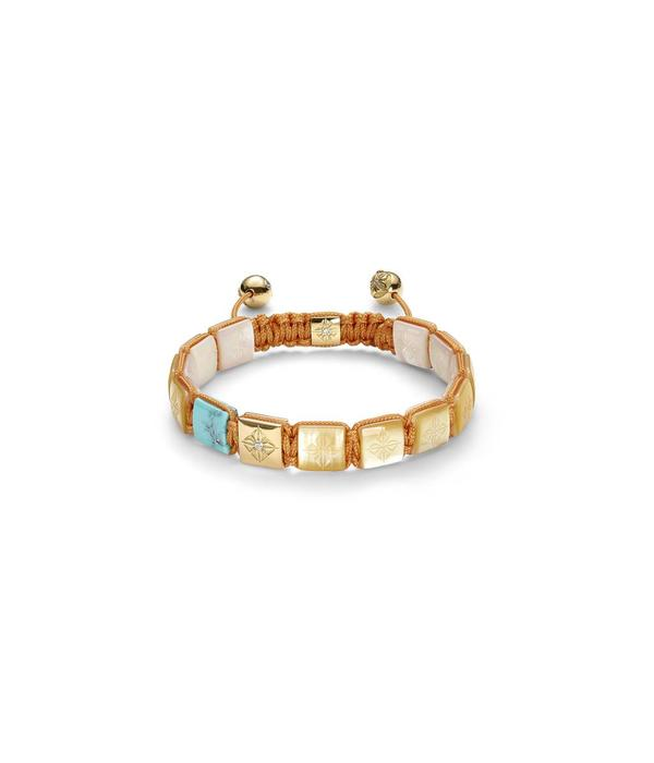 Shamballa Inner Radiance Men 10mm Lock Bracelet Turquoise, South Sea Mother of Pearl, 18K Yellow Gold