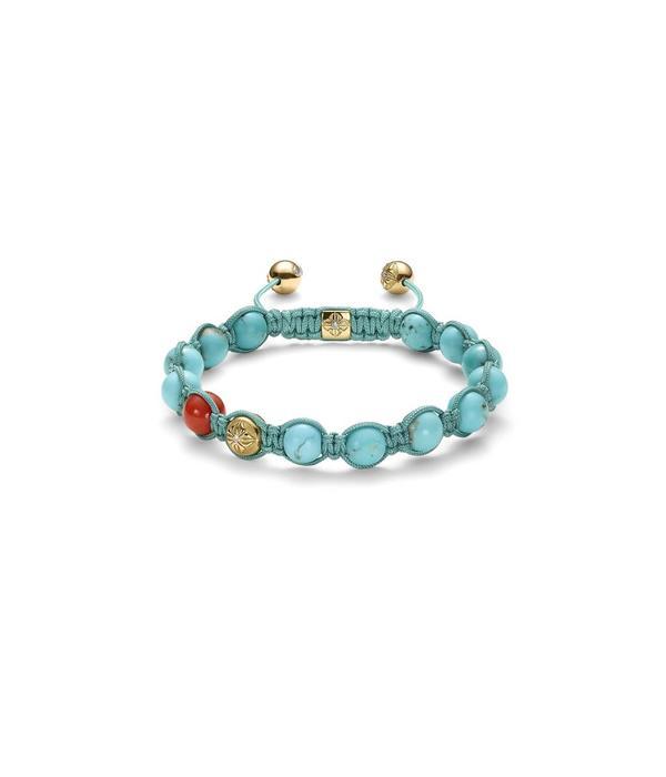 Shamballa Inner Radiance Men 8mm Shamballa Bracelet White Gold, Diamonds, Coral, Turquoise, 18K Yellow Gold