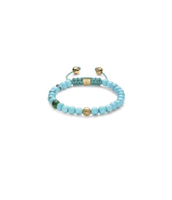 Shamballa Inner Radiance Men 6mm Non-Braided Shamballa Bracelet White Gold, Diamonds, Emerald, Turquoise, 18K Yellow Gold