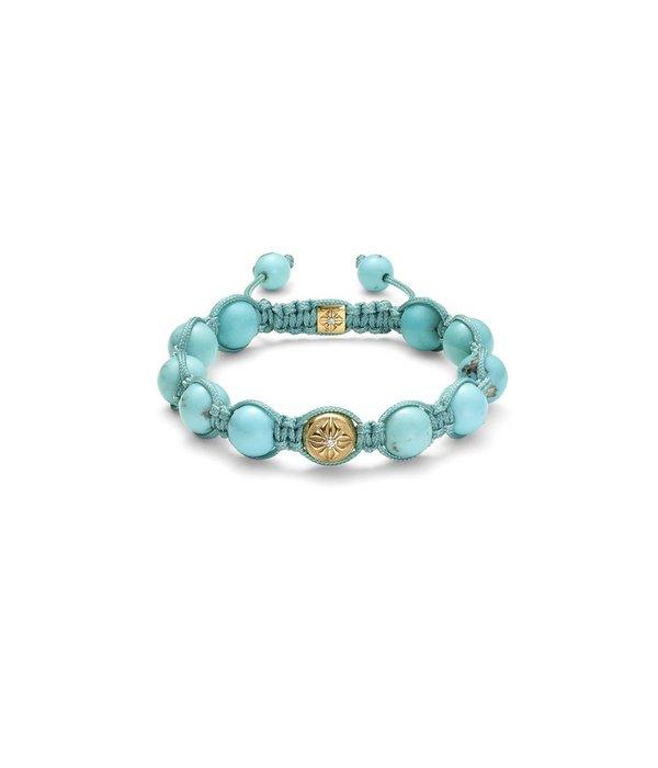 Shamballa Inner Radiance Men 10mm Shamballa Bracelet White Gold, Diamonds, Turquoise, 18K Yellow Gold