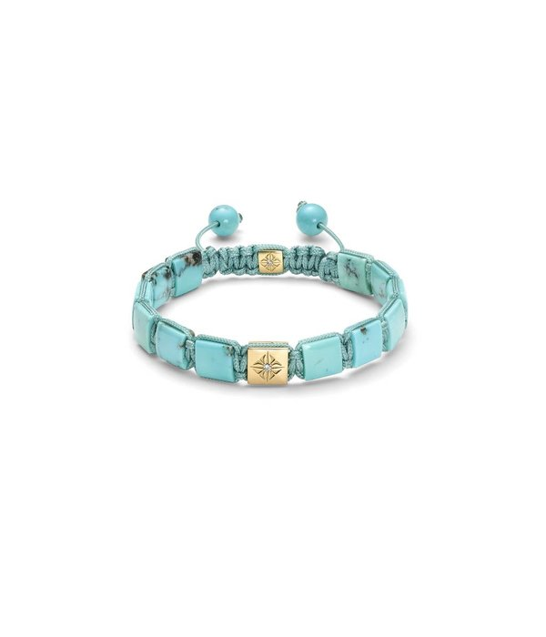 Shamballa Inner Radiance Men 10mm Lock Bracelet White Gold, Diamonds, Turquoise, 18K Yellow Gold