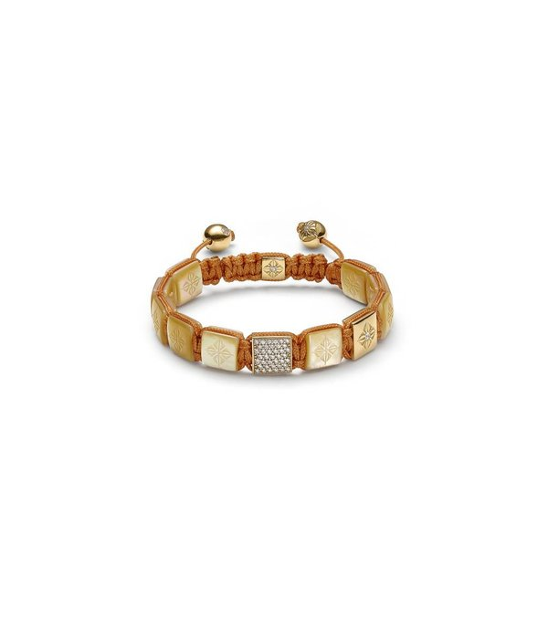 Shamballa Inner Radiance Women 10mm Lock Bracelet White Gold, Diamonds, South Sea Mother of Pearl, 18K Yellow Gold