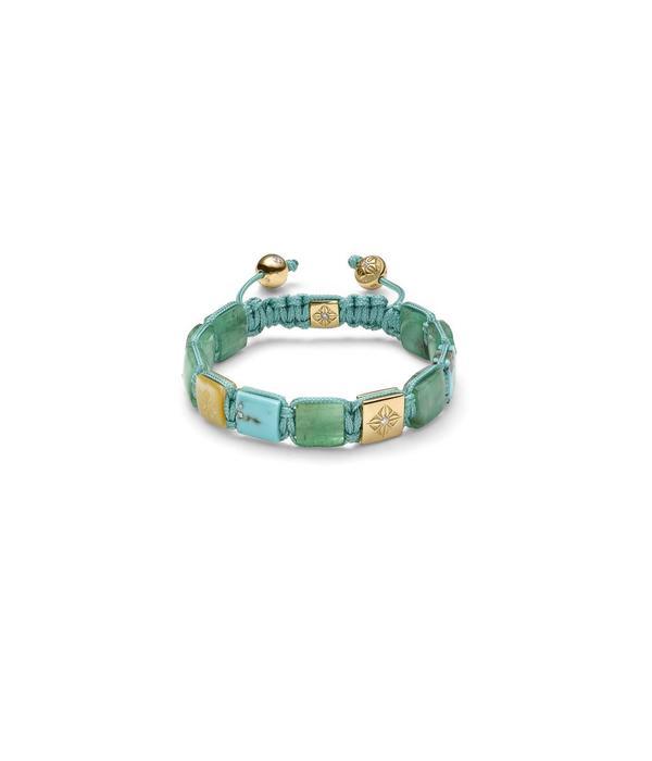 Shamballa Inner Radiance Women 10mm Lock Bracelet White Gold, Diamonds, Emeralds, Turquoise, South Sea Mother of Pearl, 18K Yellow Gold