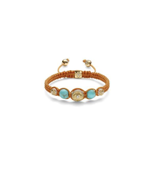 Shamballa Inner Radiance Women Fully-Braided Shamballa Bracelet White Gold, Diamonds, Turquoise, 18K Yellow Gold