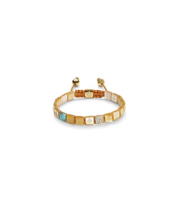 Shamballa Inner Radiance Women 6mm Lock Bracelet White Gold, Diamonds, South Sea Mother of Pearl, Turquoise, 18K Yellow Gold