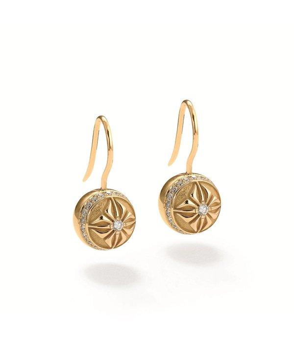 Shamballa Inner Radiance Women 10SOS Circle Pavé Earrings White Gold, Diamonds, 18K Yellow Gold