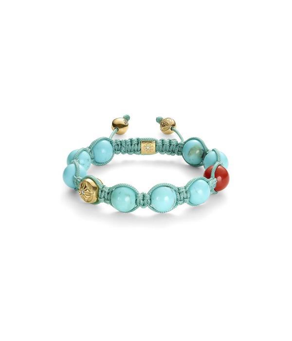 Shamballa Inner Radiance Women 10mm Shamballa Bracelet White Gold, Diamonds, Turquoise, Coral, 18K Yellow