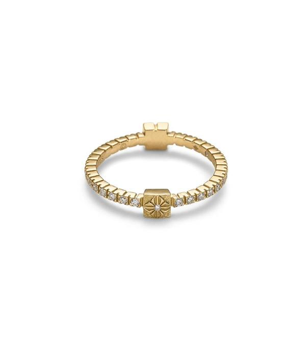 Shamballa Inner Radiance Women Alliance Ring White Gold, Diamonds, 18K Yellow, White and Rose Gold