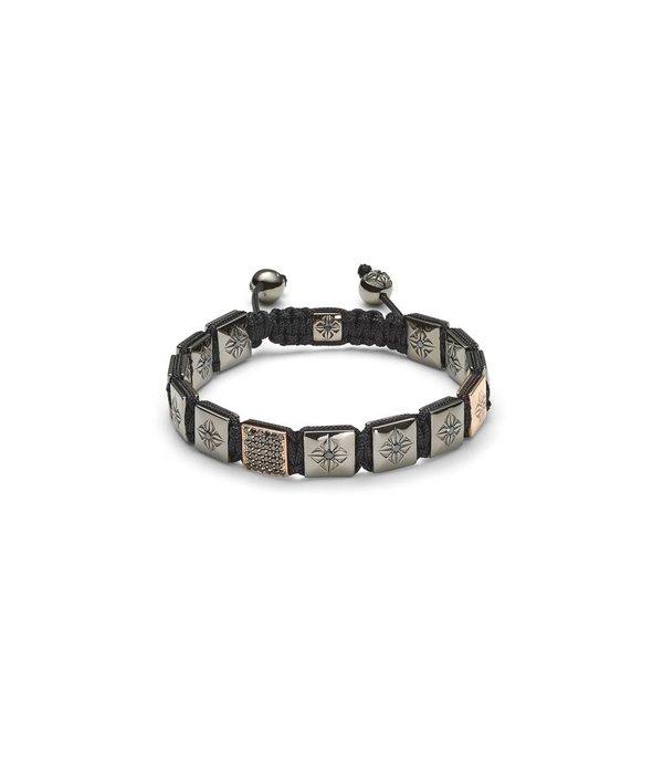 Shamballa Heroes and Warriors 10mm Lock Bracelet Black Diamonds, 18K Black Rhodium Plated White Gold, 18K Rose Gold