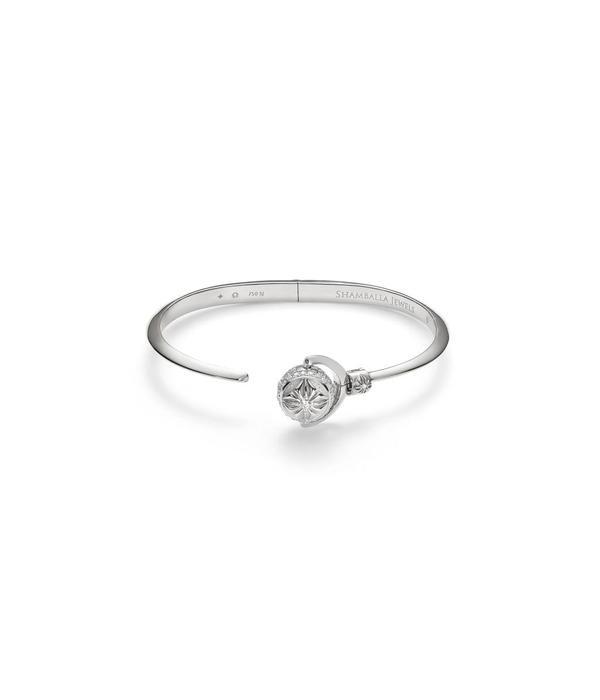 Shamballa Nyima Cuff Mini White Gold, Diamonds, 18K White Gold