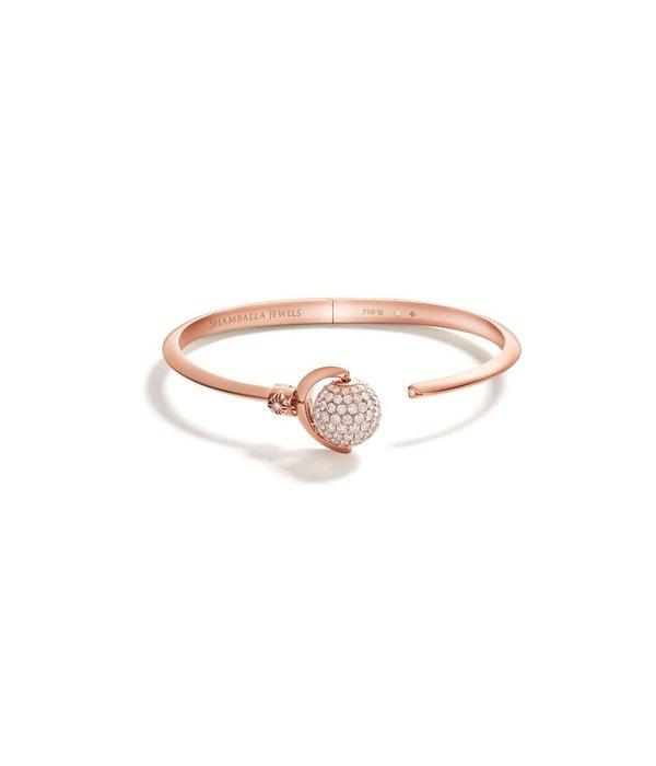Shamballa Nyima Cuff Mini White Gold, Diamonds, 18K Rose Gold