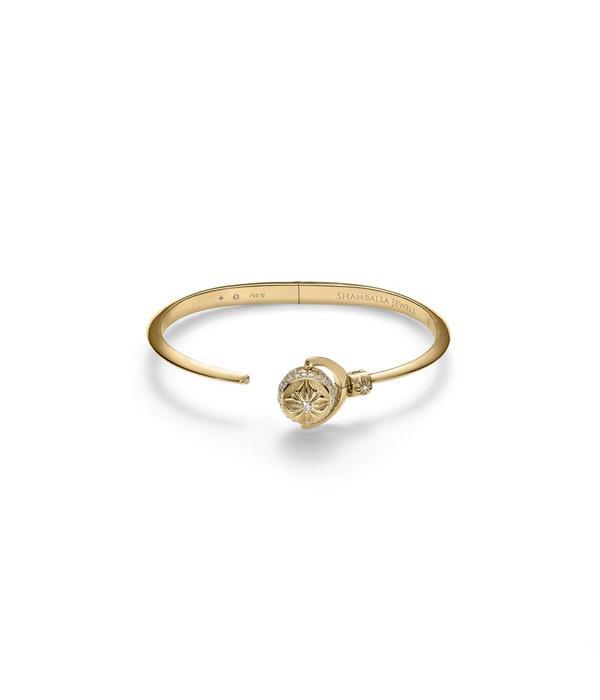 Shamballa Nyima Cuff Mini White Gold, Diamonds, 18K Yellow Gold