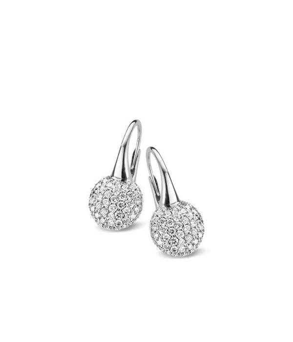 Bigli Moments 18 Krt. Witgoud Oorhangers met Diamant
