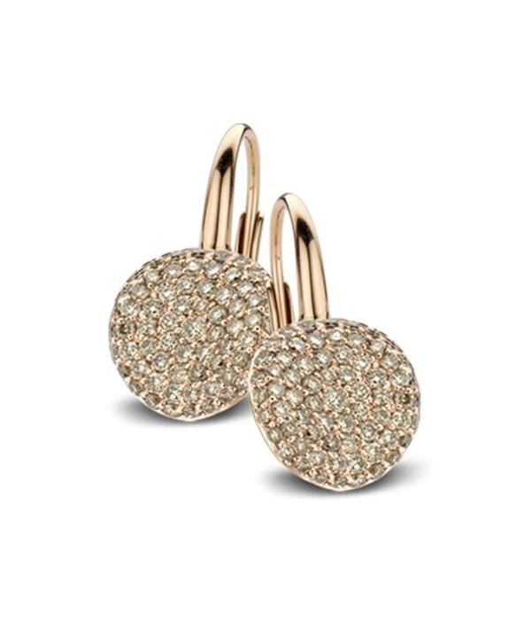 Bigli Waves 18 Carat Rose Gold Earring Drops with Brown Diamond