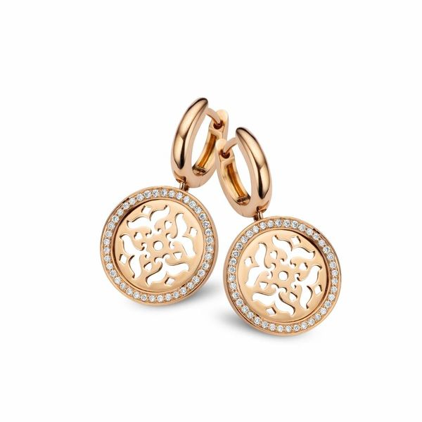 Mauritius Earring Drops Filigrain with Diamond Pave