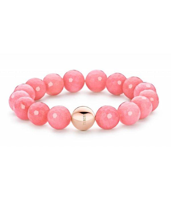 Tirisi Moda St-Tropez Armband Roze Jade Bolletjes Met Bolsluiting