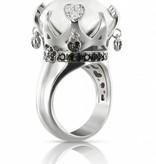 Pasquale Bruni Sissi Ring Zwart/Wit Diamant 18K Witgoud Kogolong