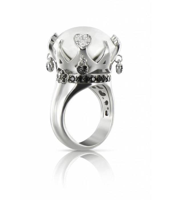 Pasquale Bruni Sissi Ring Black/White Diamond 18K White Gold Kogolong