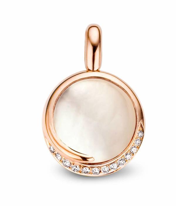Tirisi Jewelry Pendant Seoul White Quartz with Diamond/Mother of Pearl