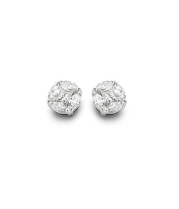 Schaap en Citroen Diamonds witgouden 18 karaat illusion oorknoppen