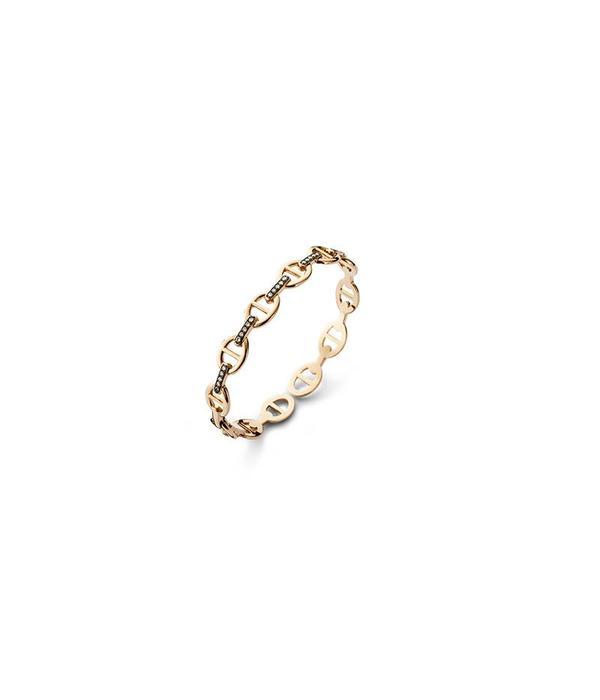 Schaap en Citroen Bracelet gourmet link small brown pave