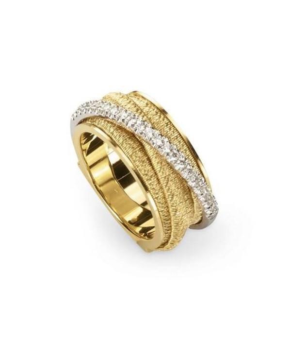 Marco Bicego Cairo 18K Yellow Gold 5 banen gekruist 1 baan pave ring