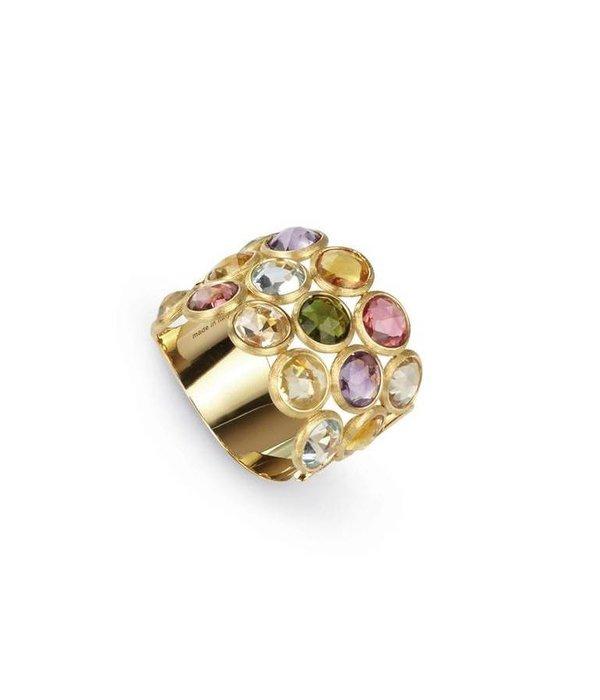 Marco Bicego Jaipur 18K Geelgoud 3 rijen mix van edelstenen ring