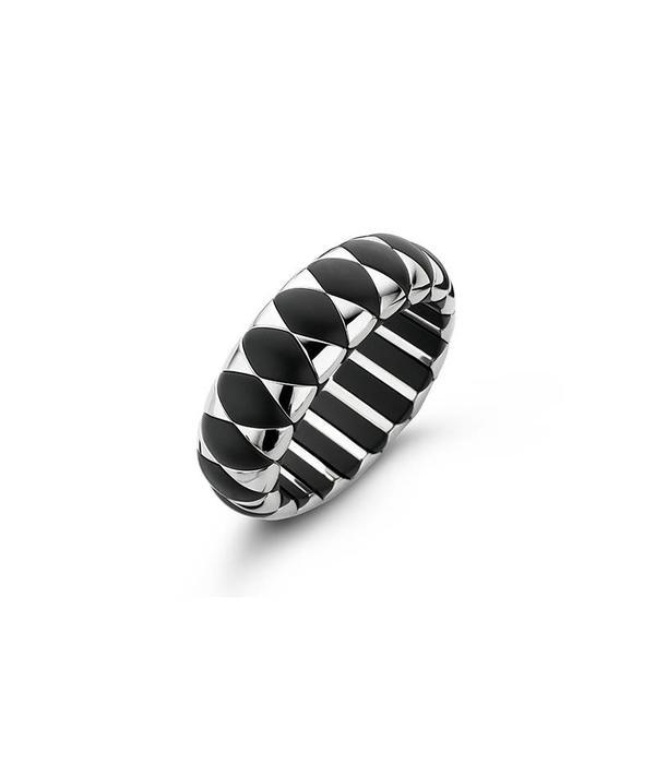 Roberto Demeglio bracelet black ceramic mat and white doublé