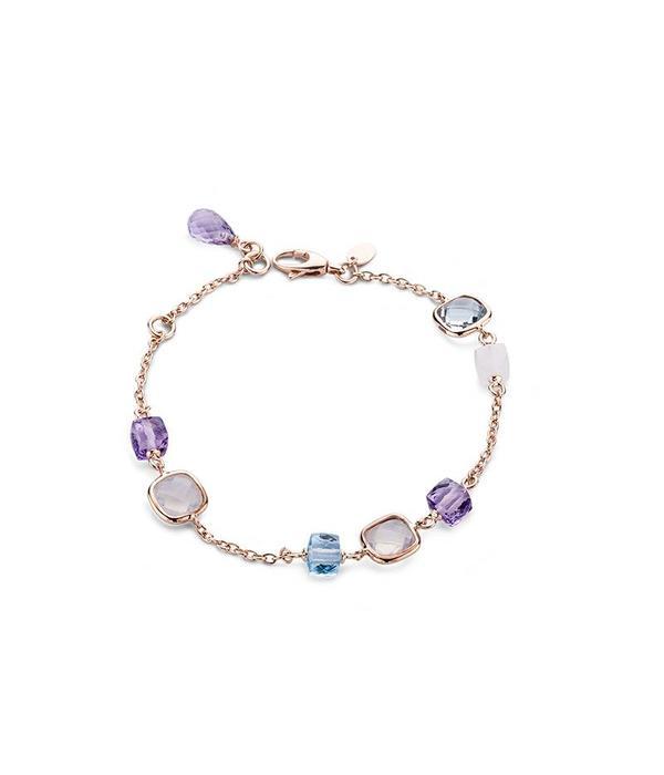 SC Jewellery rosegouden armband met diverse kleurstenen