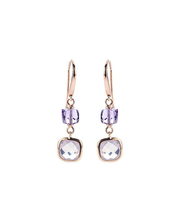 SC Jewellery rose gold earrings with multiple colorstones