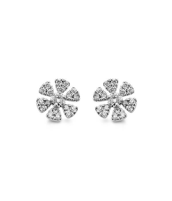 Schaap en Citroen Diamonds Ear Studs Flower