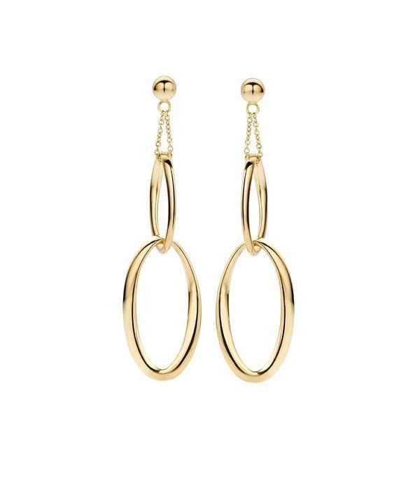 Schaap en Citroen Essentials yellow gold earrings with oval links