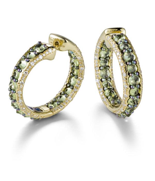 Mattioli Reve_r rosegouden creolen  met peridot en diamant [MOR137R011PW]