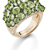 Mattioli Reve_r Rose gold ring with peridots and diamond [MAN137R032PW]