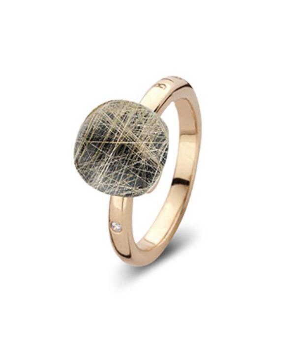 Bigli Rose Gold 18 carat Mini Sweety Ring with Rutile Quartz